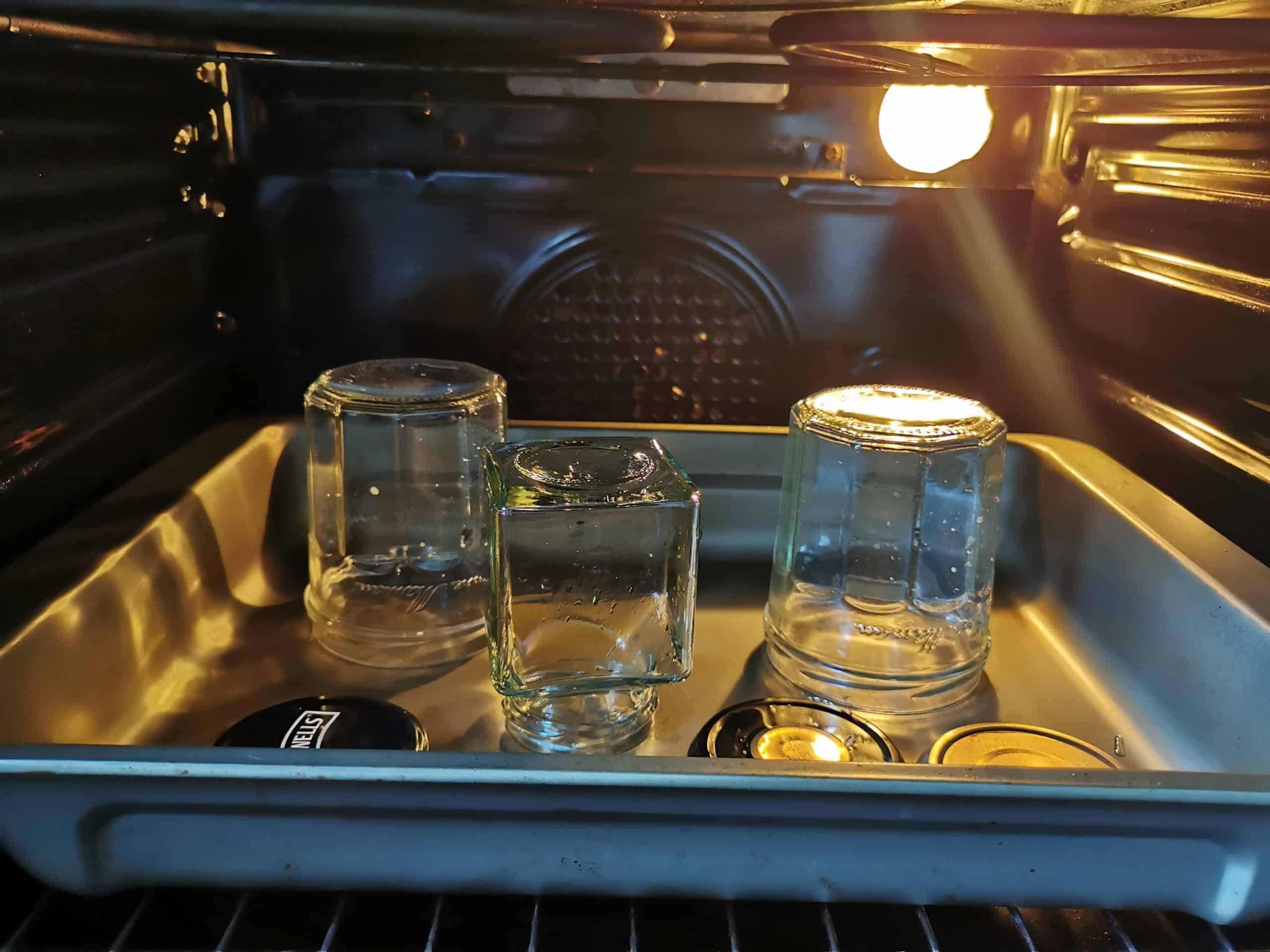 Tray of jars in oven